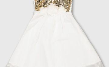 White Sequin Bodice Occasion Dress