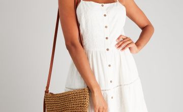 Natural Broderie Tiered Maxi Dress