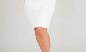 White Denim Schiffli Lace Trim Pencil Skirt