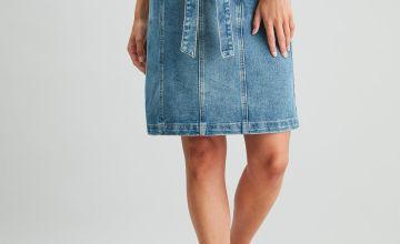 Acid Wash Denim Paperbag A-Line Skirt