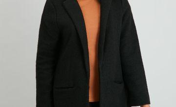 Black Revere Collar Longline Jacket