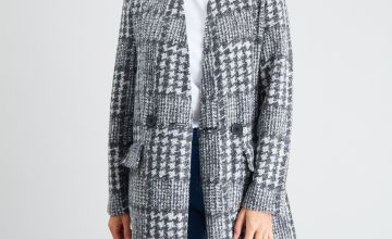 Grey Dogtooth Check Cut & Sew Jacket