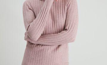 Pink Roll Neck Jumper Dress