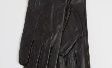 Black Leather Gloves With Fleece Lining