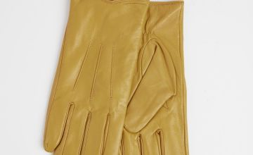 Ochre Leather Gloves With Fleece Lining
