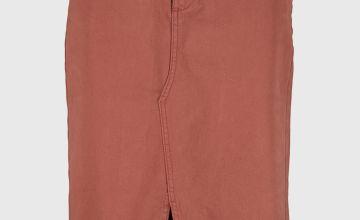 Brown Twill Pencil Skirt - 22