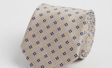 Pale Grey Diamond Print Tie - One Size