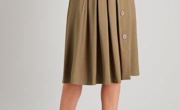 Khaki Button Detail Skirt