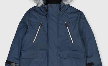 Navy Hooded Shower Resistant Parka Coat