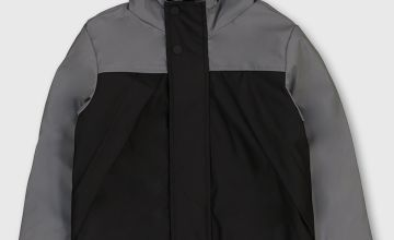 Grey Colour Block Hooded Mac