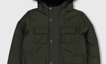Khaki Hooded Coat With Navy Borg Lining - 7-8 years