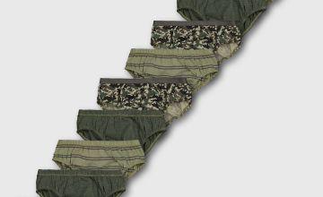 Khaki Camouflage Briefs 10 Pack