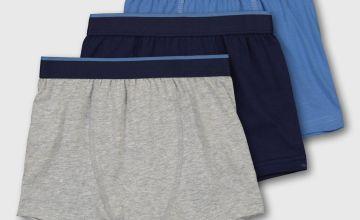 Grey Marl & Blue Trunks 3 Pack