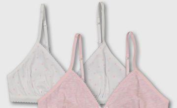 Spot & Pink Marl My First Bra 2 Pack