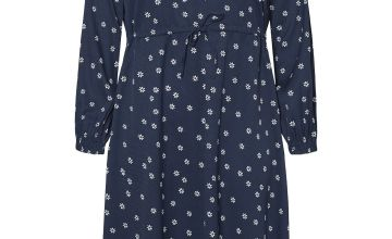Navy Daisy Print Midi Dress