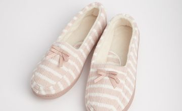 Pink Stripe Full Slippers With Arch Support