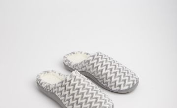 Grey Zigzag Mule Slippers