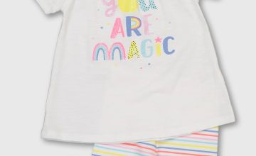 White 'You Are Magic' Top & Stripe Shorts