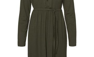 Khaki Maternity Jersey Midi Dress