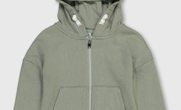 Sage Green Zip Through Hoodie