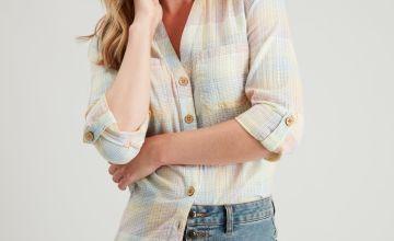 Pastel Check Tab Sleeve Shirt