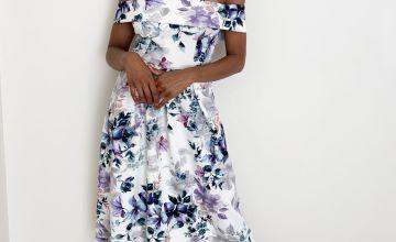 Floral Print Scuba Bardot Dress
