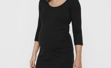 Black 3/4 Sleeve Jersey Maternity Dress