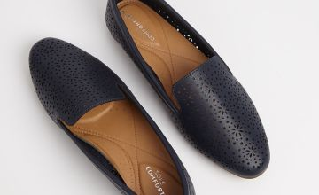 Sole Comfort Navy Laser Cut Loafers