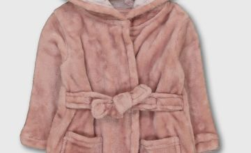Pink Hooded Dressing Gown
