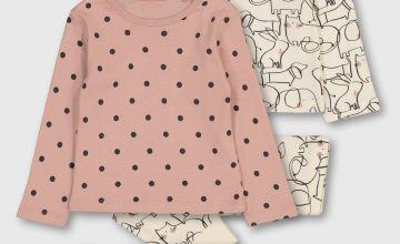Spot & Doodle Print Snuggle Fit Pyjama 2 Pack
