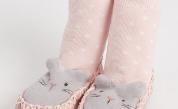 Pink Mouse Moccasin Slipper Socks