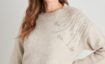 Oatmeal Pearl & Diamanté Jumper With Wool