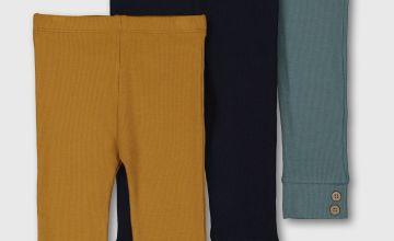 Mustard, Navy & Blue Ribbed Leggings 3 Pack