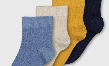 Blue Ribbed Ankle Socks 4 Pack