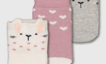 Pink Bunny Ankle Socks 3 Pack