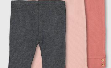 Pink & Grey Rib Leggings 3 Pack