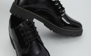 Black Patent Faux Leather Lace Up Shoes