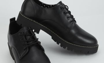 Black Round Toe Lace Up Shoes