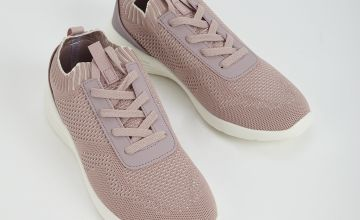 Sole Comfort Pink Knitted Lace Up Trainer
