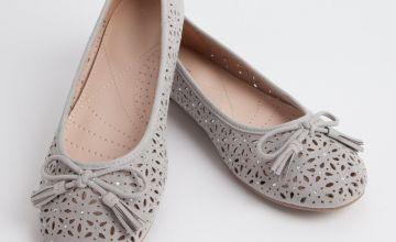 Sole Comfort Grey Laser Cut Ballerina Shoes