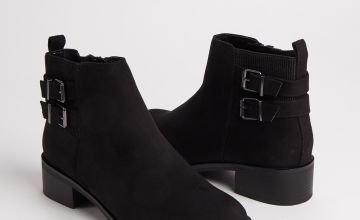 Black Faux Suede Double Strap Ankle Boots