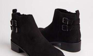 Black Faux Suede Double Strap Ankle Boots