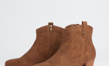 Tan Chunky Heel Ankle Boots