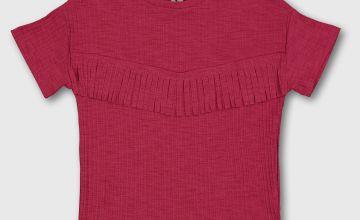 Magenta Pink Fringed Short Sleeve Top