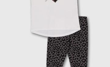 White 'No Drama' T-Shirt & Leopard Print Leggings