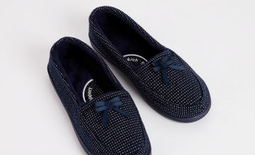 Navy Sparkle Full Slippers With Arch Support