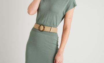 Sage Green Cap Sleeve Knitted Dress