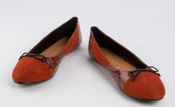 Rust Faux Suede Snake Print Ballerina Pumps