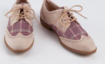 Sole Comfort Nude & Check Lace-Up Derby