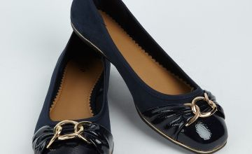 Navy Square Toe Patent Cap Ballerina Pumps